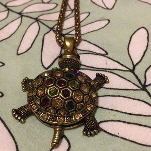 Jewelry - Turtle necklace with long rusted chain